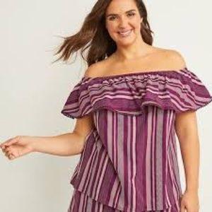 Lane Bryant purple white stripe offf shoulder top